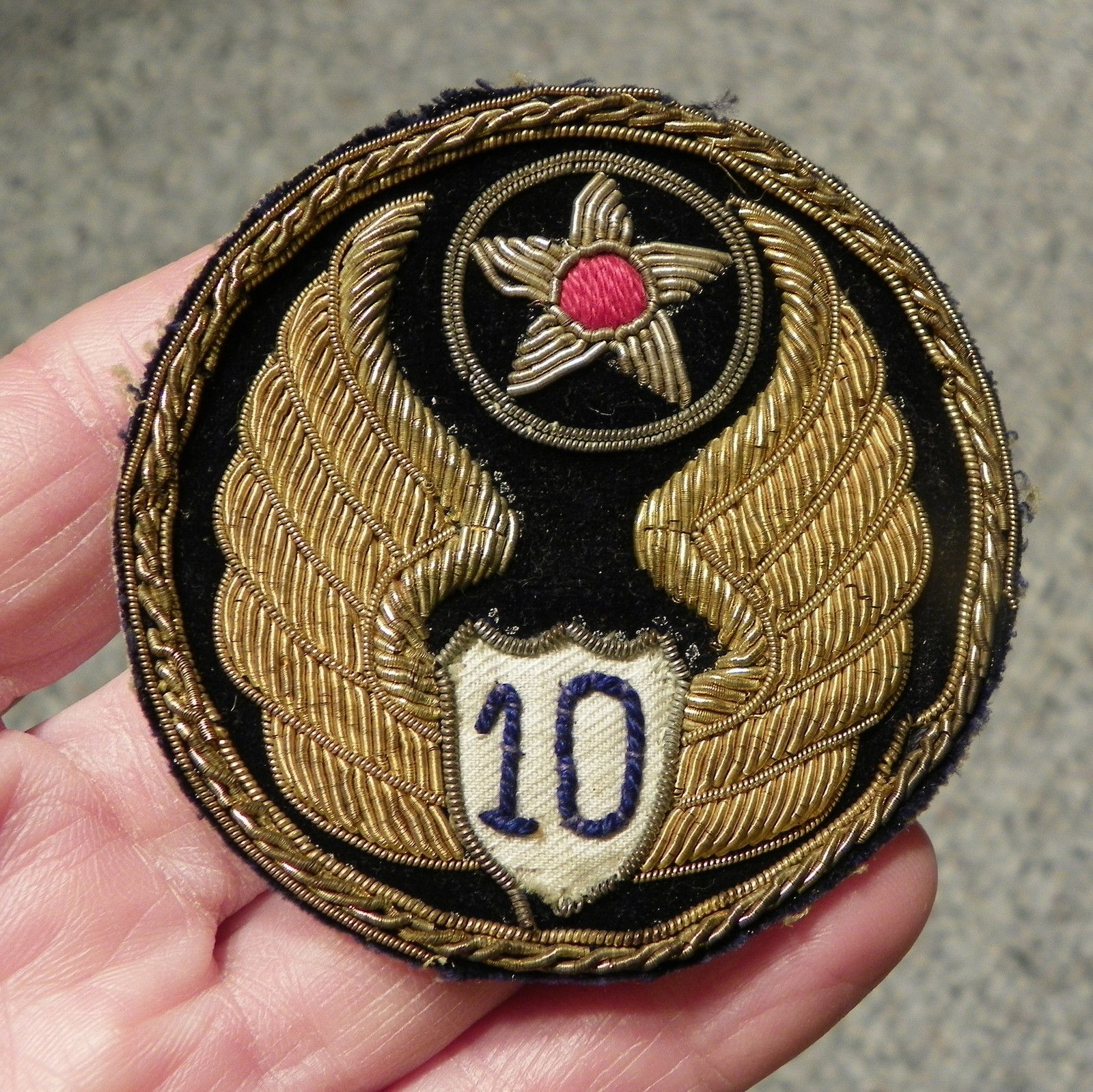 WWII 10th Army Air Force Bullion Patch Military