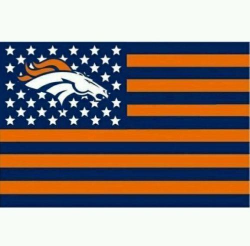 DENVER BRONCOS USA FLAG BANNER 3' X 5' HUGE FLAG Stars & Stripes 3x5…