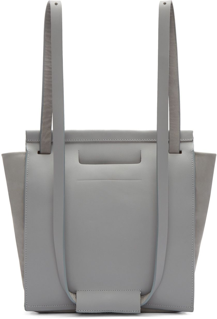 Chiyome - Grey Leather Small Tote Backpack  422d9100e047f