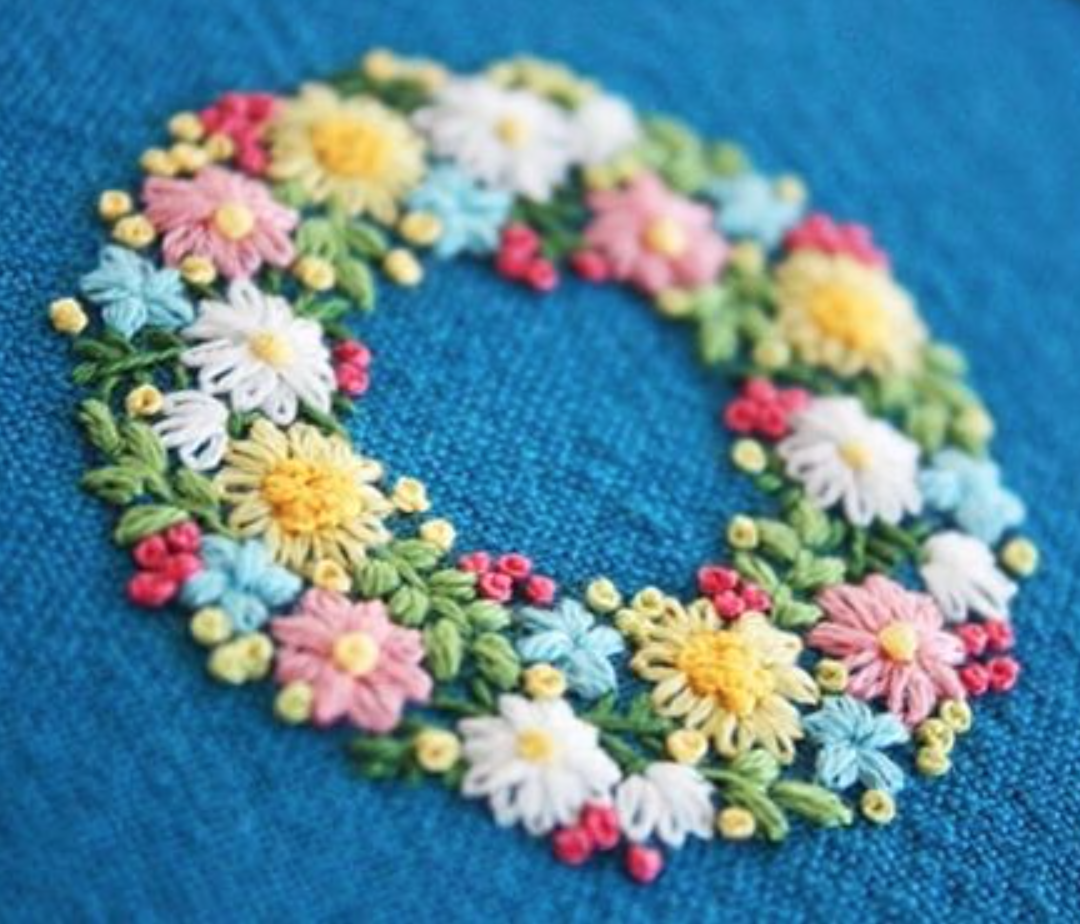 The flower wreath embroidery stitchery and sewing