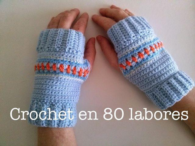 Patrón para unos mitones de crochet (Crochet en 80 labores ...