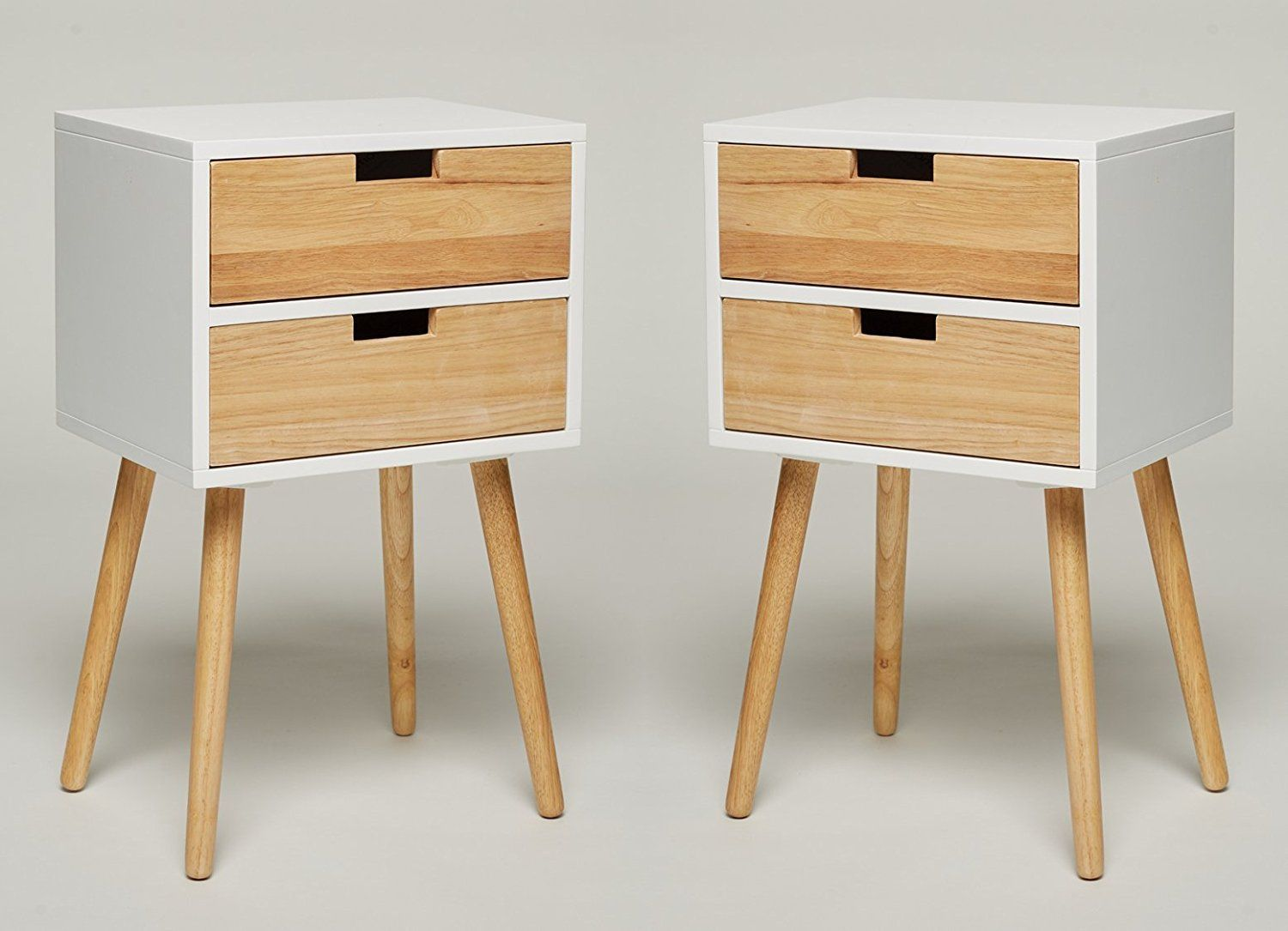 Set Of 2 Night Stand With 2 Drawers White Wood Telephone Table Console Table Side Table Bedside Table Wood Bedside Table Bedside Table Kitchen Table Settings
