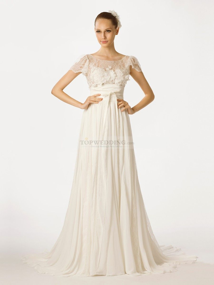 Roice cap sleeved a line chiffon bridal dress with sheer lace top