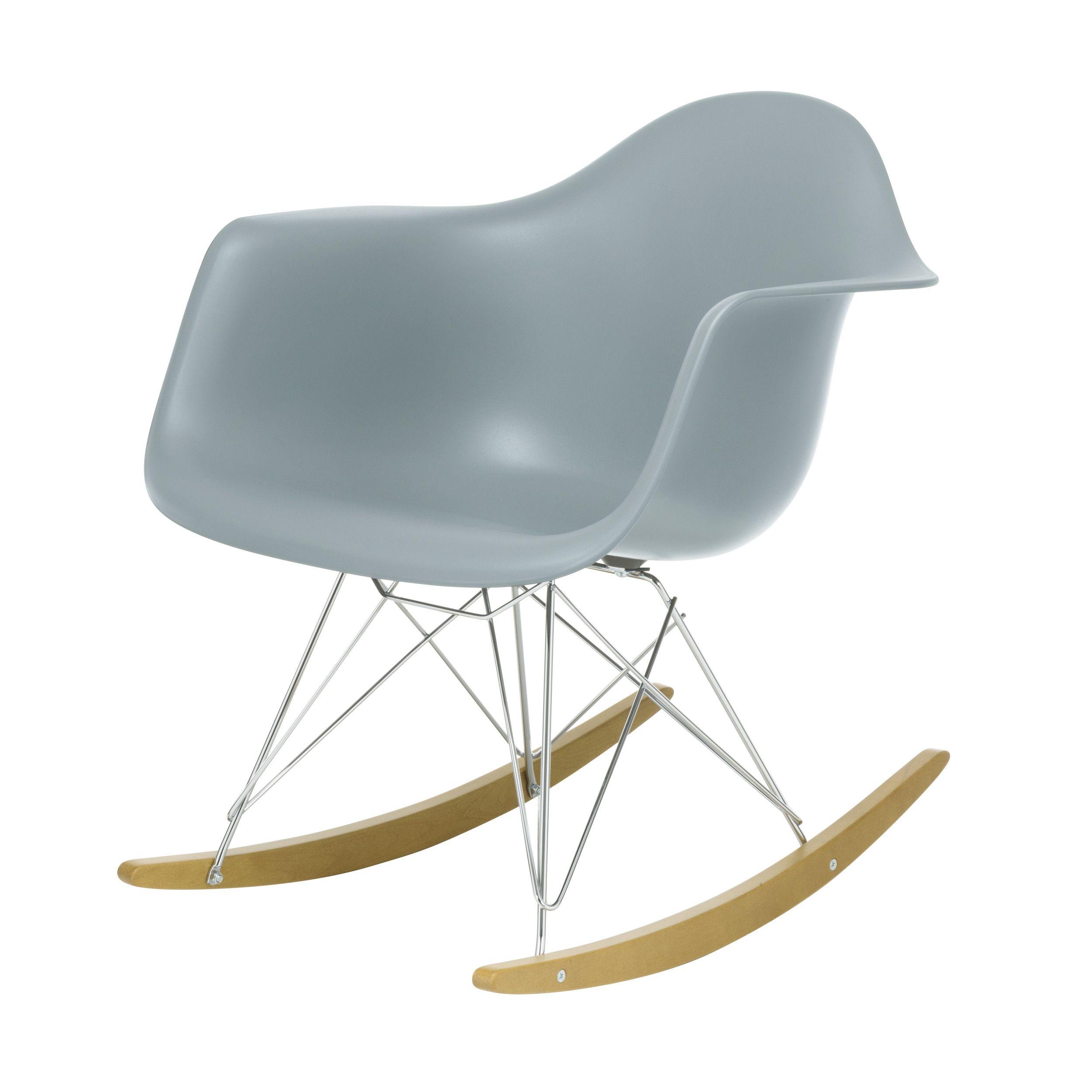 Eames Plastic Armchair RAR Schaukelstuhl eisgrau chrom A 002