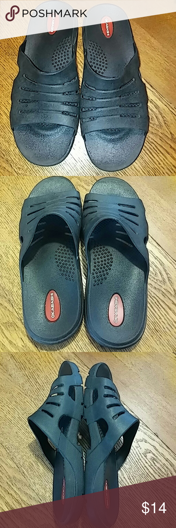 Okabashi Slide Pool, Beach, Shower Sandal Great condition Okabashi Slide Pool, Beach, Shower Sandal. Size L. Black. Instep support. Okabashi Shoes Sandals