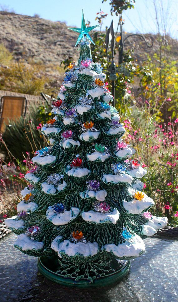 21 Ceramic Christmas Tree Large Lovely Lighted Green | Christmas tree, Picture tree