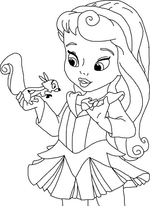 Little Aurora With Squirrel Coloring Pages | Coloring page 2 ...