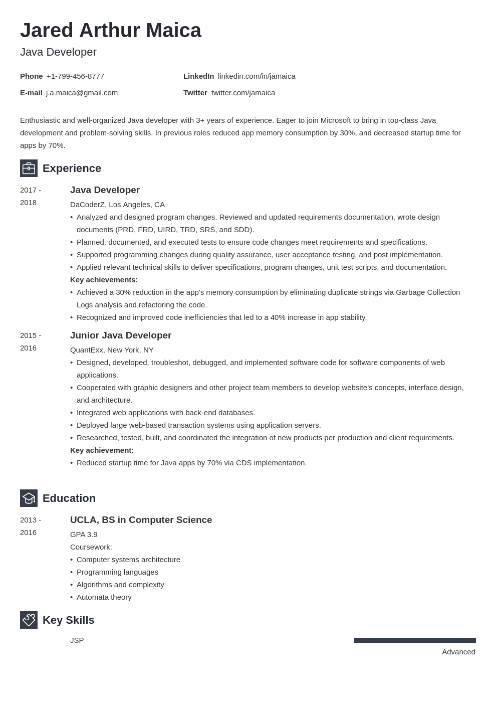 Java Developer Resume Example Template Newcast Job Resume Examples Resume Examples Resume