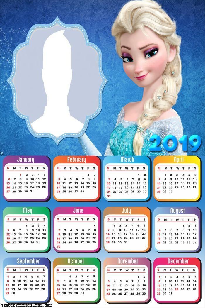 Elsa Frozen Calendar 2019 Frame Photo Montage Free Online