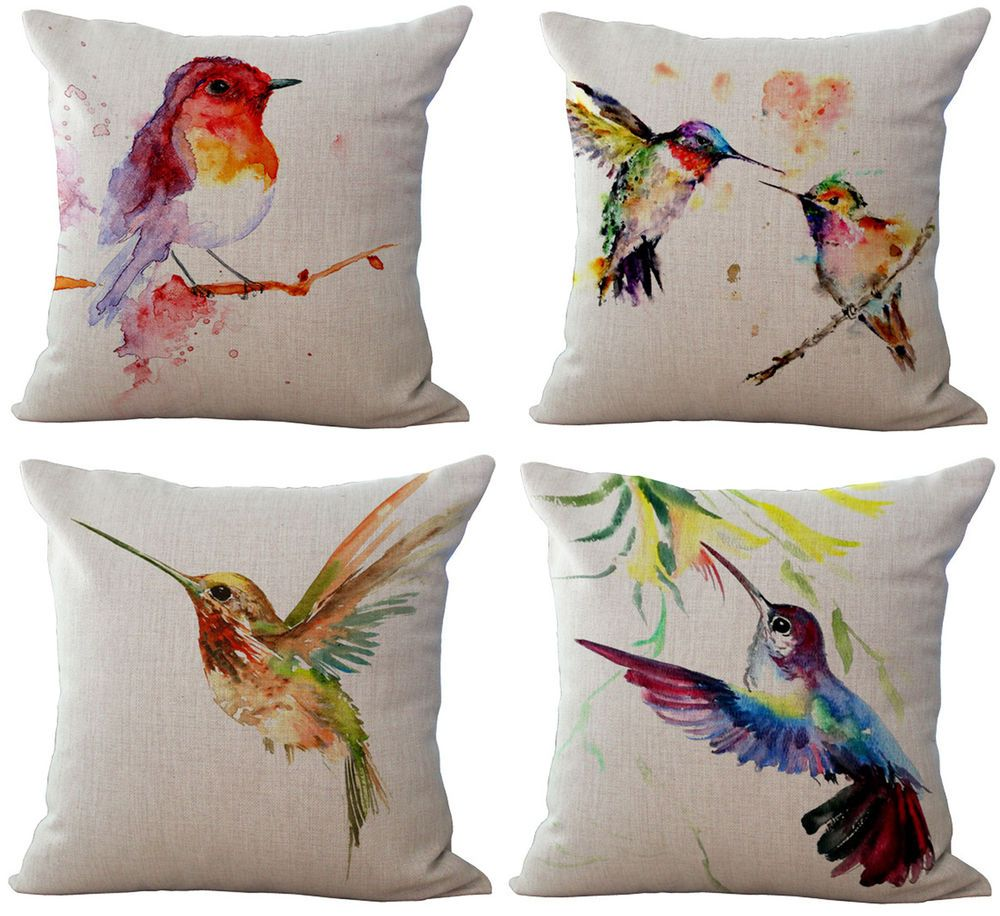 "18/"" Simple Cartoon Bird Animal Pillowcase Throw Cushion Cover Linen Sofa Decor"