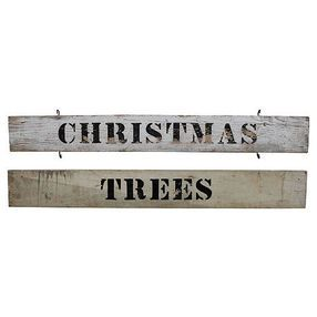 Christmas Trees Signs, Pair