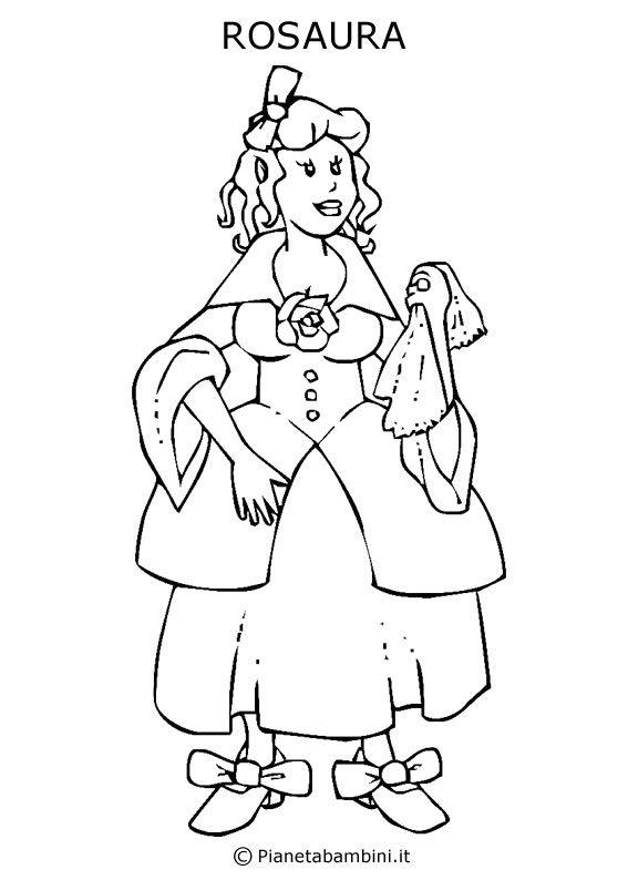 Disegno della maschera di rosaura da stampare e colorare for Immagini di carnevale da colorare