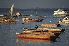 Porto, Pôr Do Sol, Tanzânia, Barcos Dhow