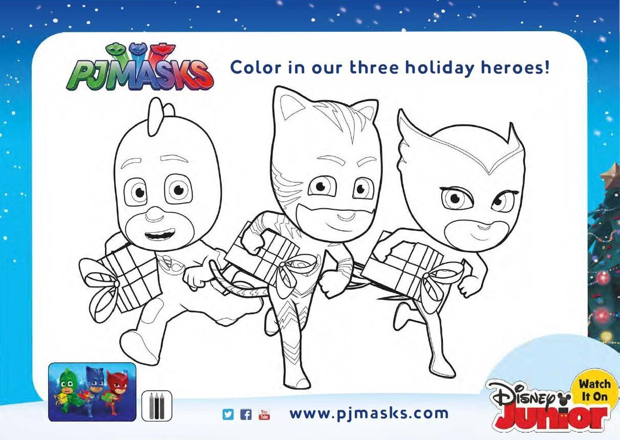 Free Holiday Pj Masks Coloring Pages And Activity Sheets Pj