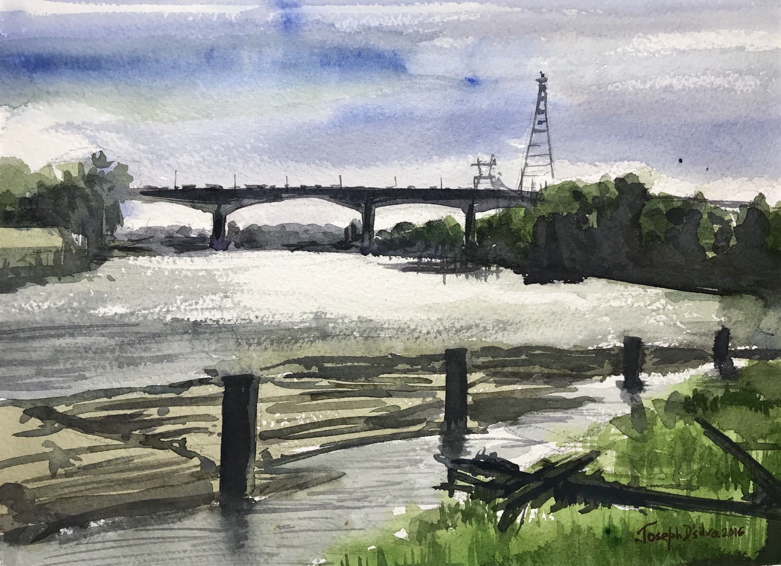 Vancouver Fraser River / Original Watercolor Painting