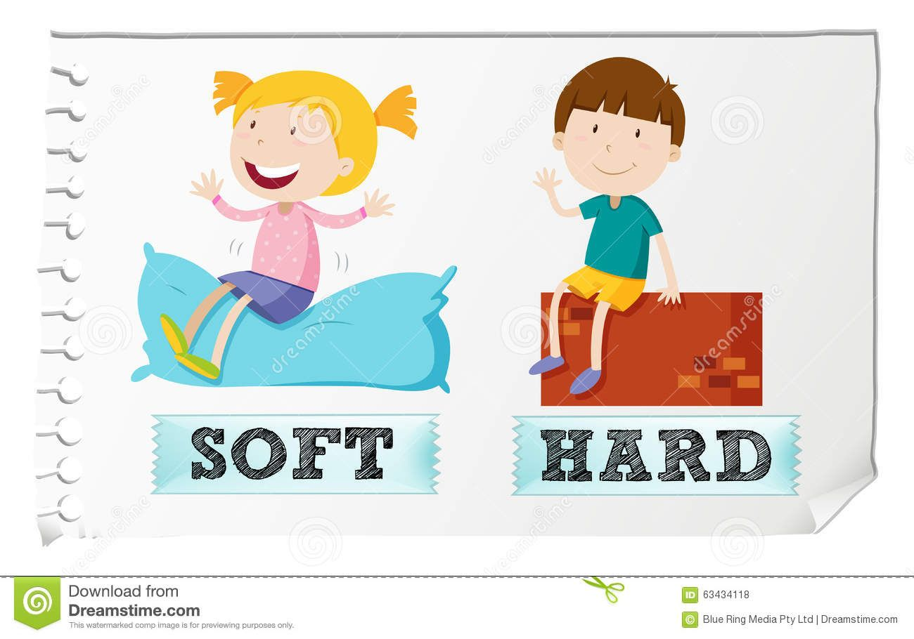 Opposite Adjectives Soft And Hard