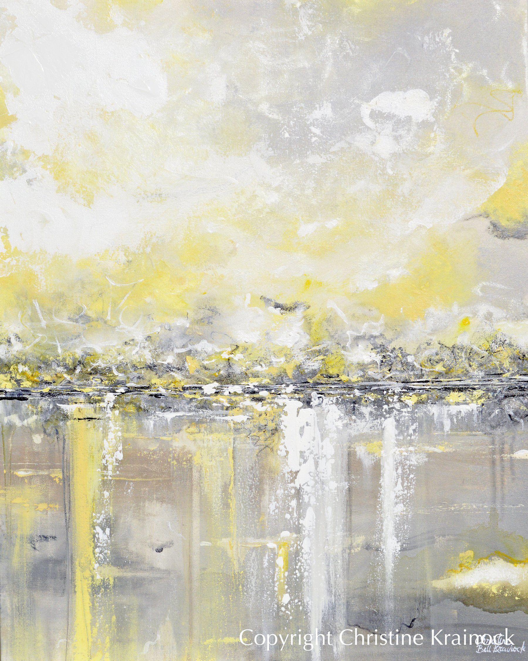 Original Art Yellow Grey Abstract Painting Modern Coastal
