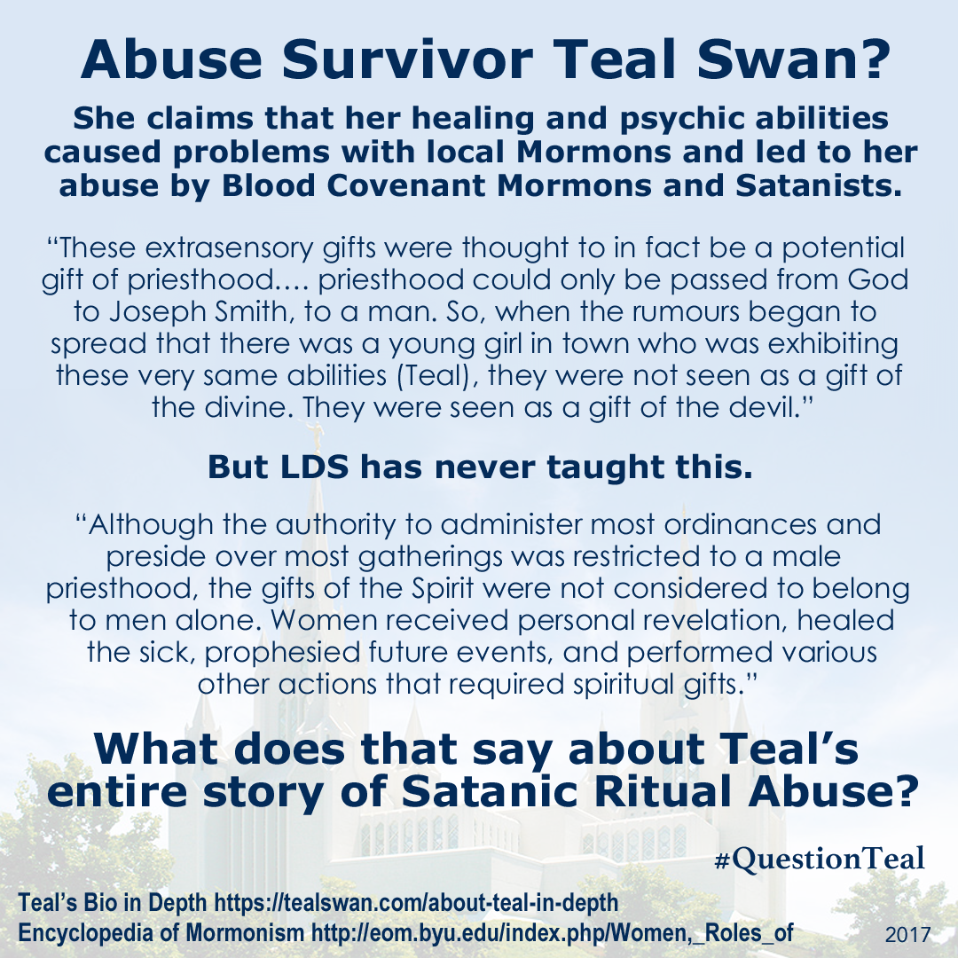 Mormon Wedding Night Rituals -  tealswan satanic ritual abuse story debunked as she doesn t know mormon beliefs