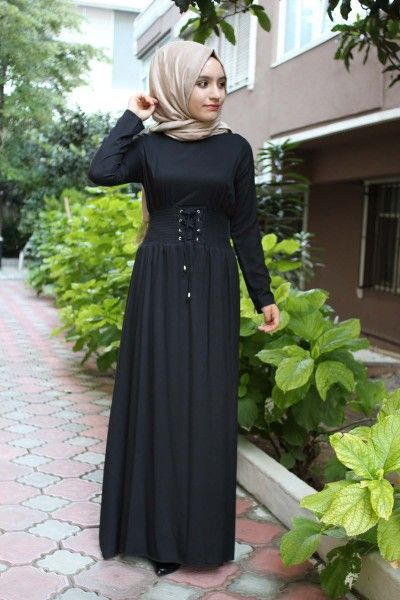 Gipeli Siyah Tesettur Elbise Elbise Modelleri Elbise Uzun Elbise
