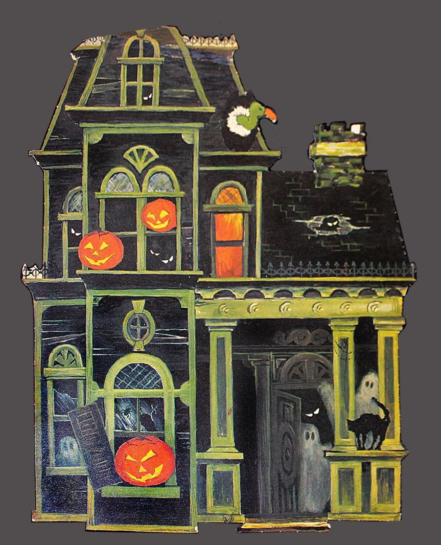 1960s halloween decorations - Haunted House Die Cut Wall Decoration 1960s