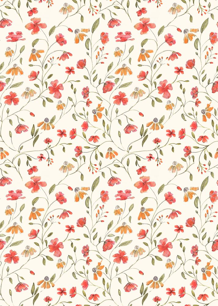 Red and Orange Vintage Floral Pattern Carry-All Pouch by aljahorvat