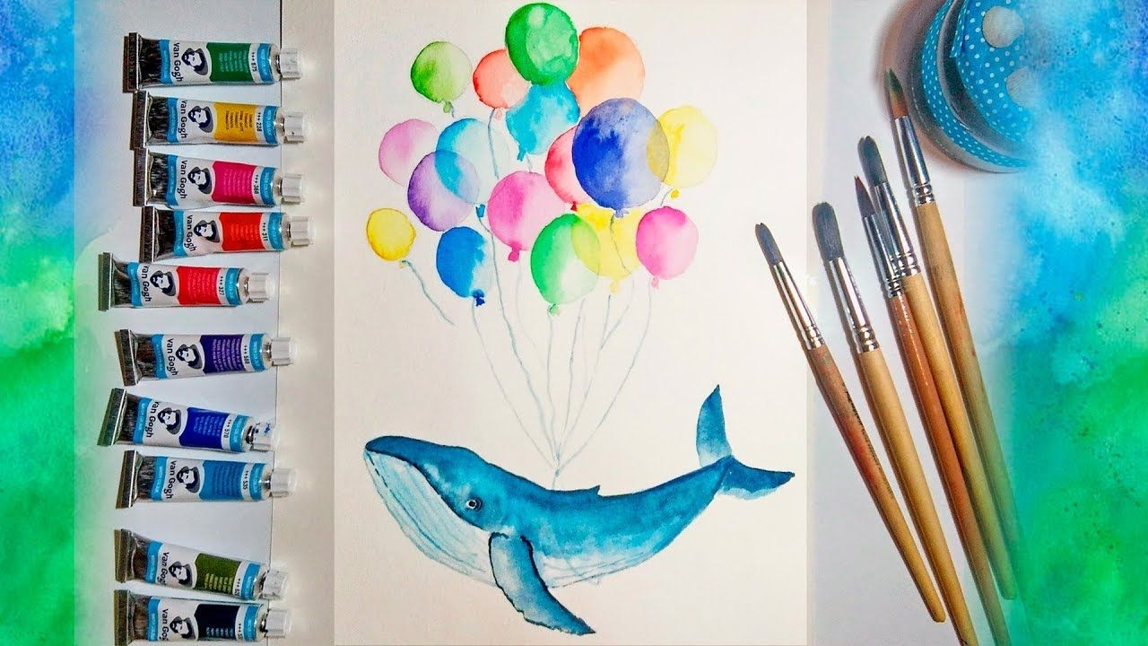 How To Paint Step By Step Blue Whale And Balloon Illustration