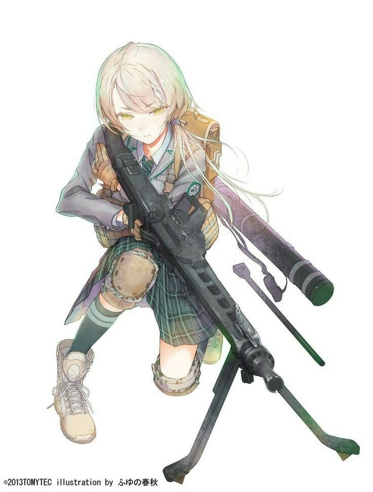 Anime girl with gun weapon unsorted anime military - Gun girl anime ...