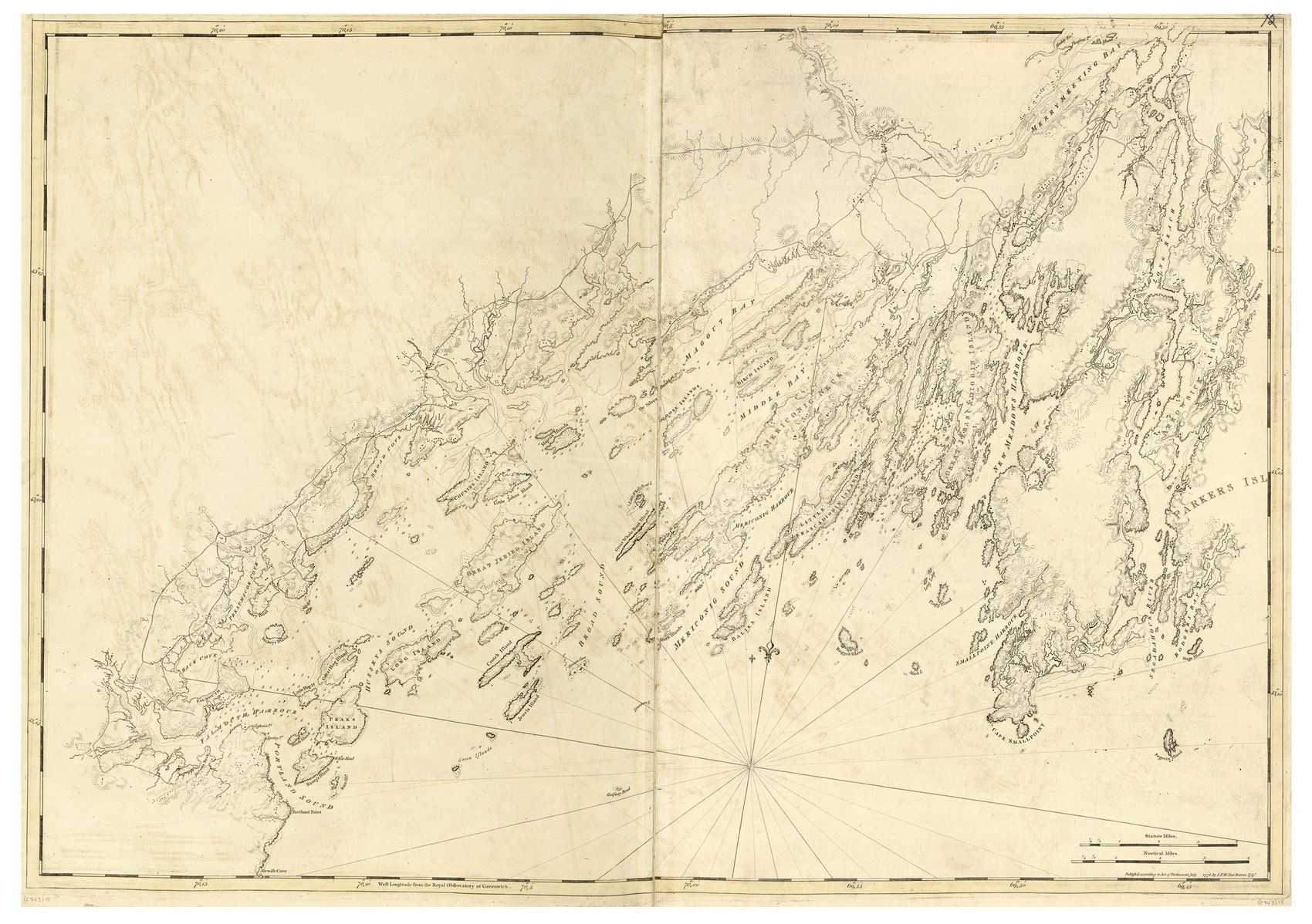 Casco Bay Maine  Map Revolutionary War Survey By British - Maine on map of usa