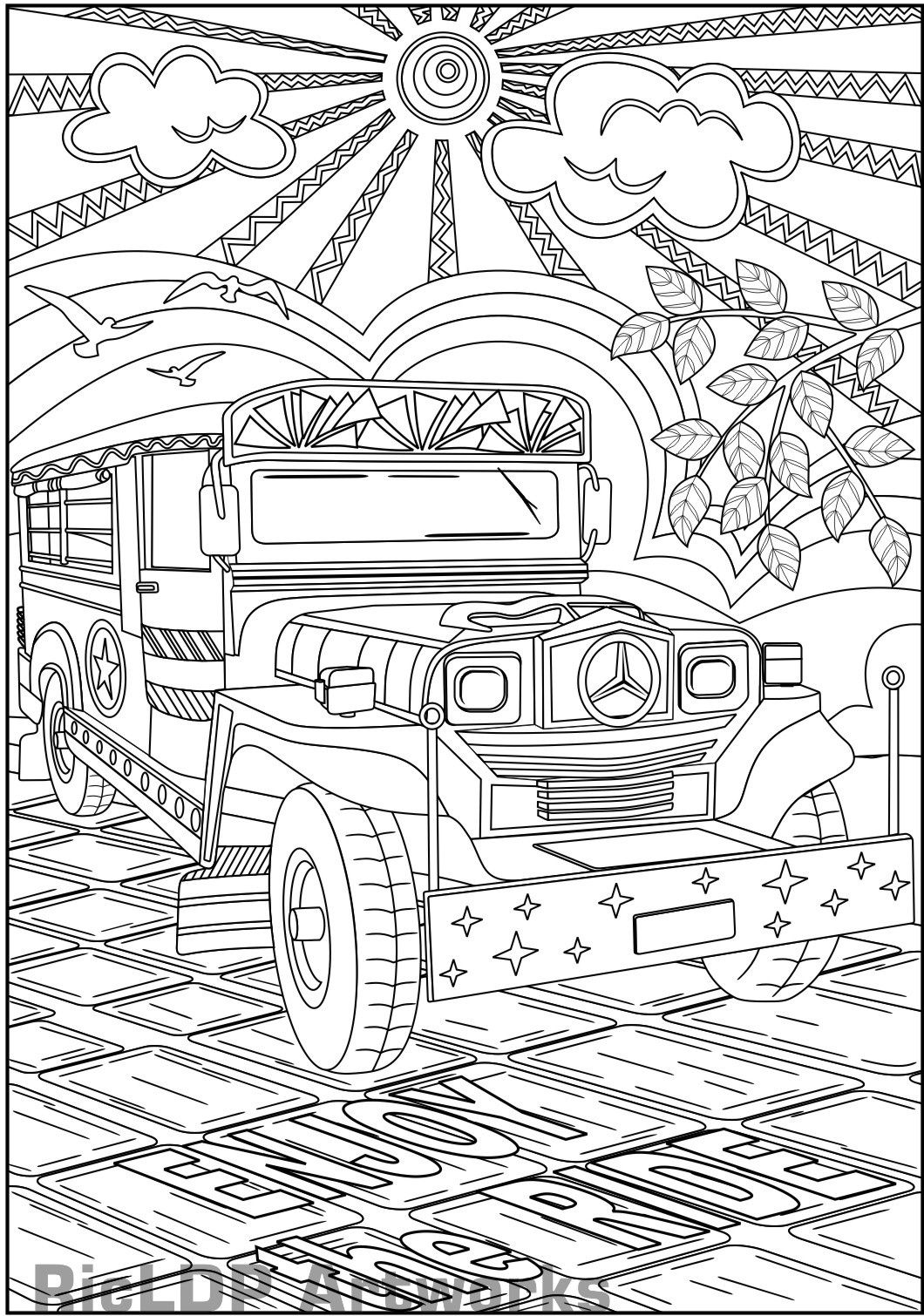 Free coloring page jeep - Enjoy The Ride Philippine Jeepney Coloring Page