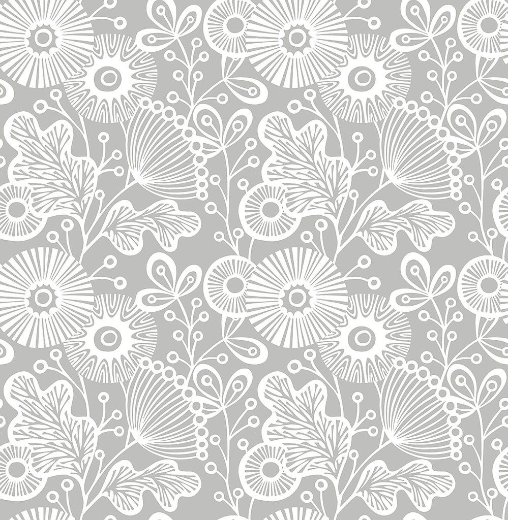 Grey Daisy Removable Wallpaper Grey Floral Wallpaper Floral Wallpaper Scandinavian Wallpaper