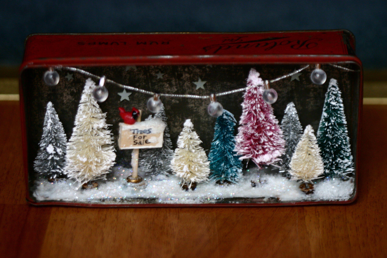 Christmas Diorama Trees For Sale Tree Farm Bottle Brush Trees Winter Scene Box Room Miniature Scene V Christmas Diorama Christmas Shadow Boxes Christmas