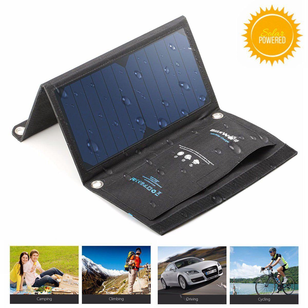 Blitzwolf 15w solar panel phone charger 2port usb solar
