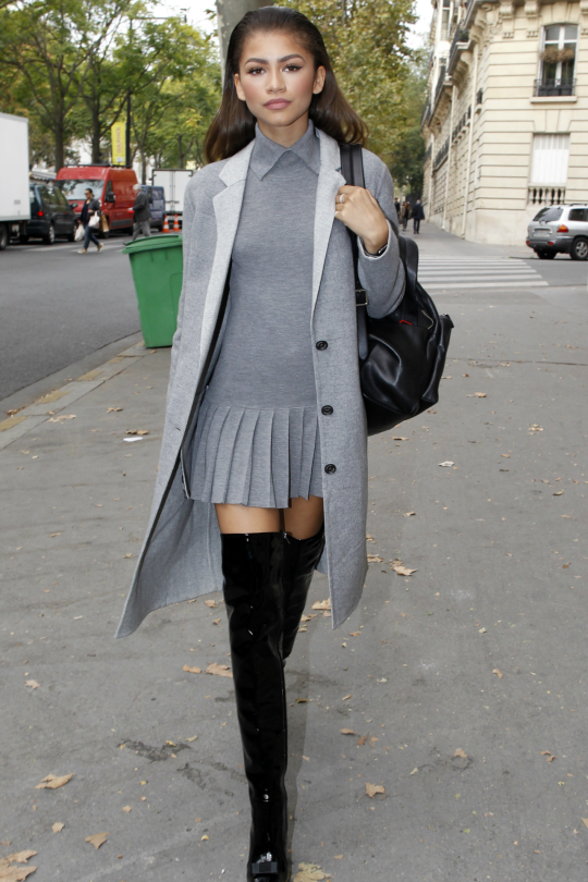 Pleated grey + tall boots More