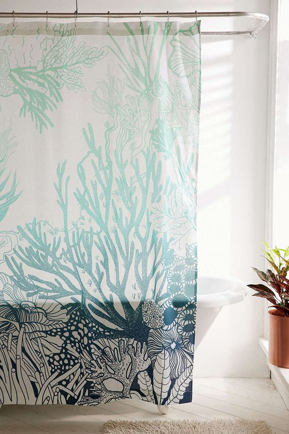 Turquoise Ombre Coral Reef Shower Curtain Beach Shower Curtains Shower Curtain Decor Coral Shower Curtains