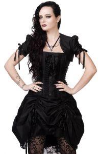 black victorian inspired steel boned corset dress with