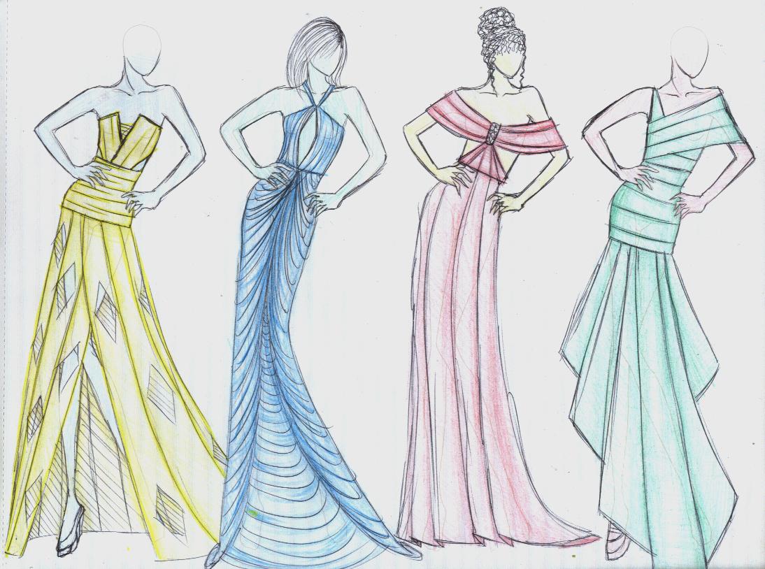 Fashion Design Drawing Ideas Dresses Happy Emotion
