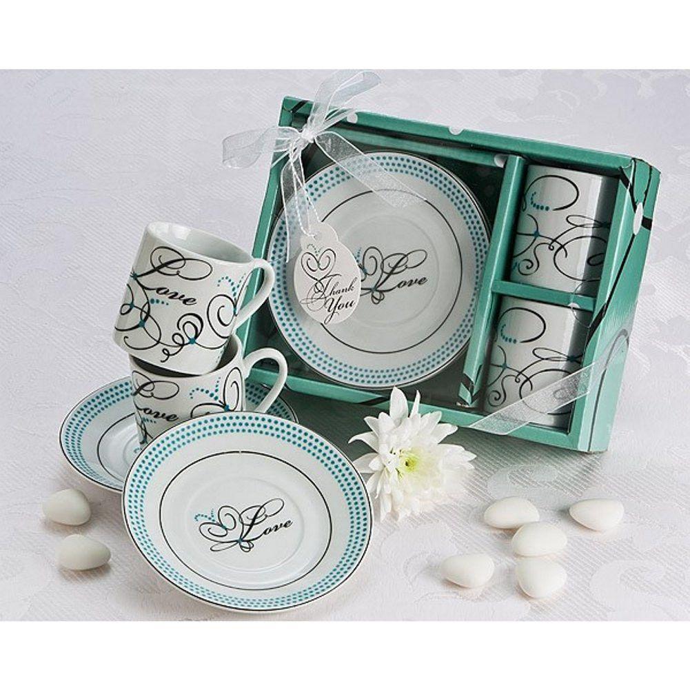 Expressions of Love Espresso Cup Favor Set in White | Espresso cups ...