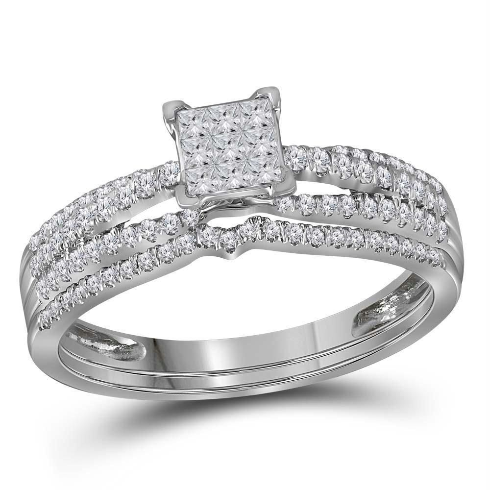 14kt white gold womens princess diamond cluster bridal
