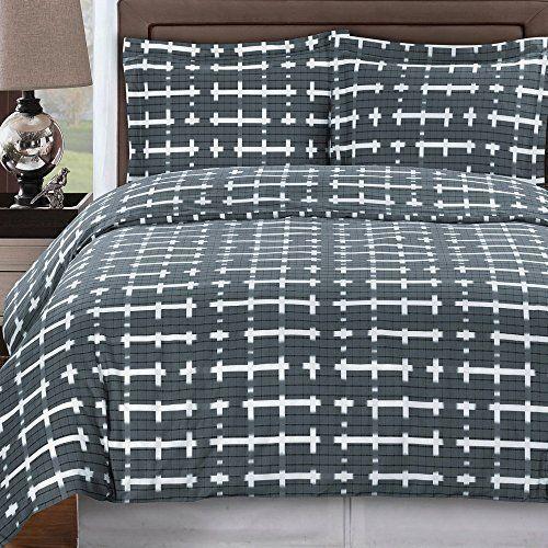 Modern Geometric Grid Tiles Pattern 300 Thread Count 100% Egyptian Cotton  Dark Grey And White