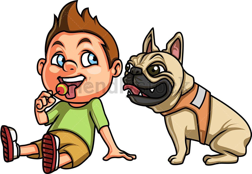 Kid With Pug Dog Dogs Kids Cartoon Dog Cartoon