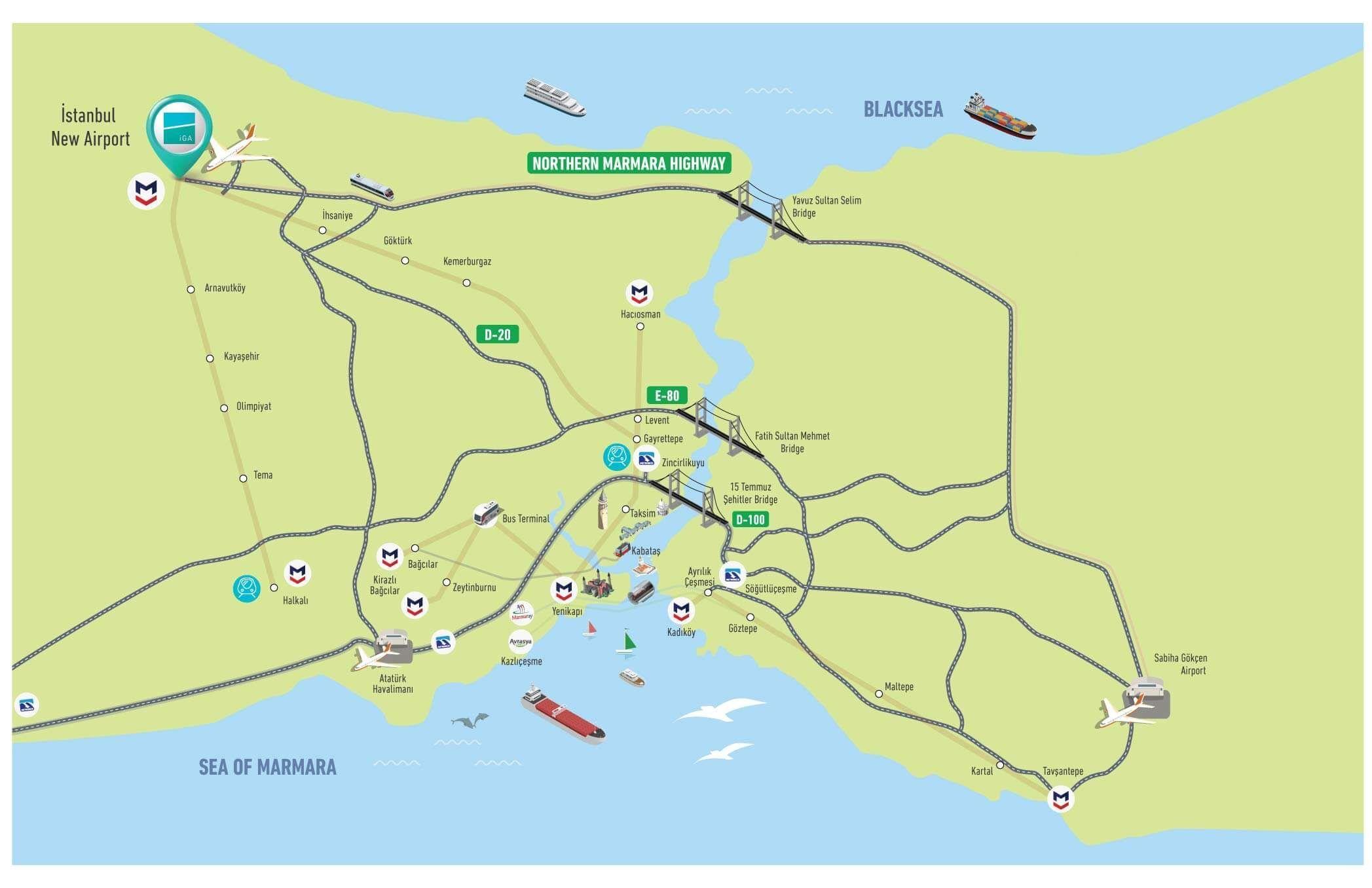 Novyj Aeroport Stambula 2021 10 Variantov Dobratsya V Centr Map