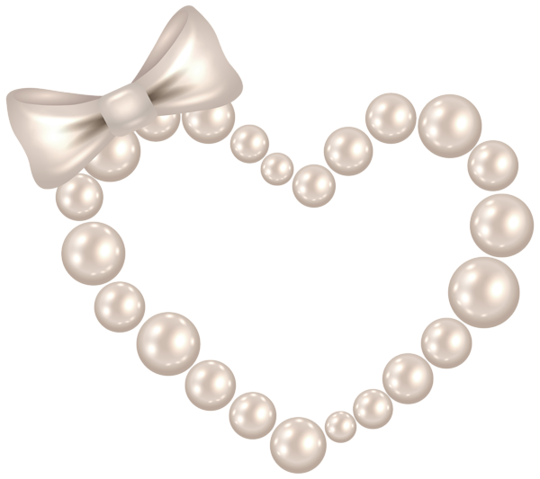 Pearl Heart with Bow Transparent PNG Clip Art Image ...