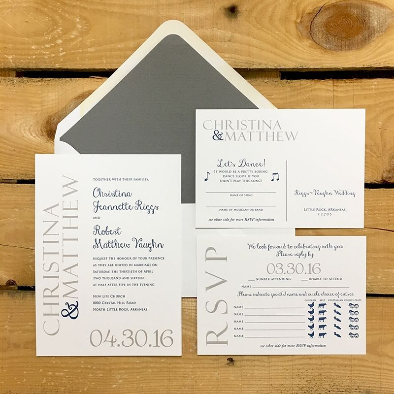 Navy & Gray Weeding Invitations | Spring Wedding ...