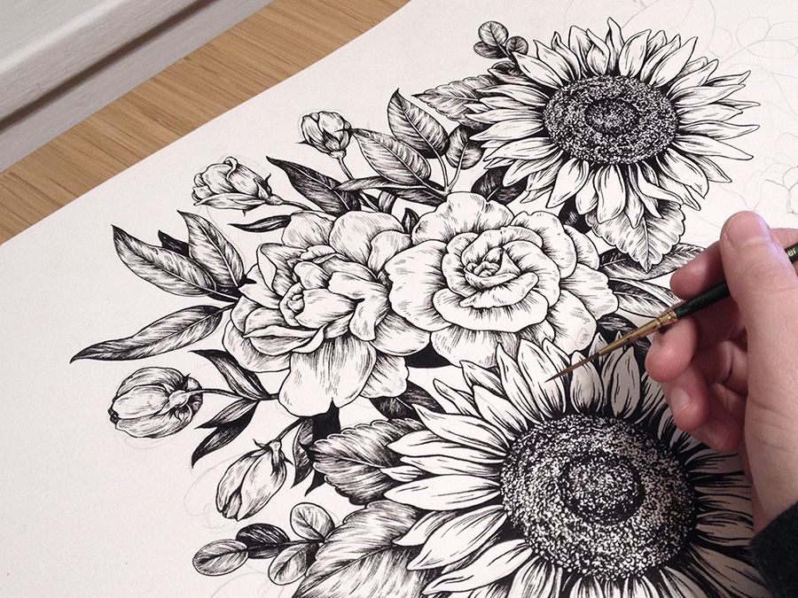 Flower Child Line Drawing : Tattoo something like this style of sunflower i want one because