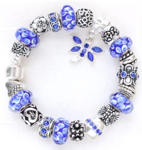 European Charm Bracelet Blue Flowers Murano Beads Charms European Charm Bracelets Charm Bracelet Blue Bracelet