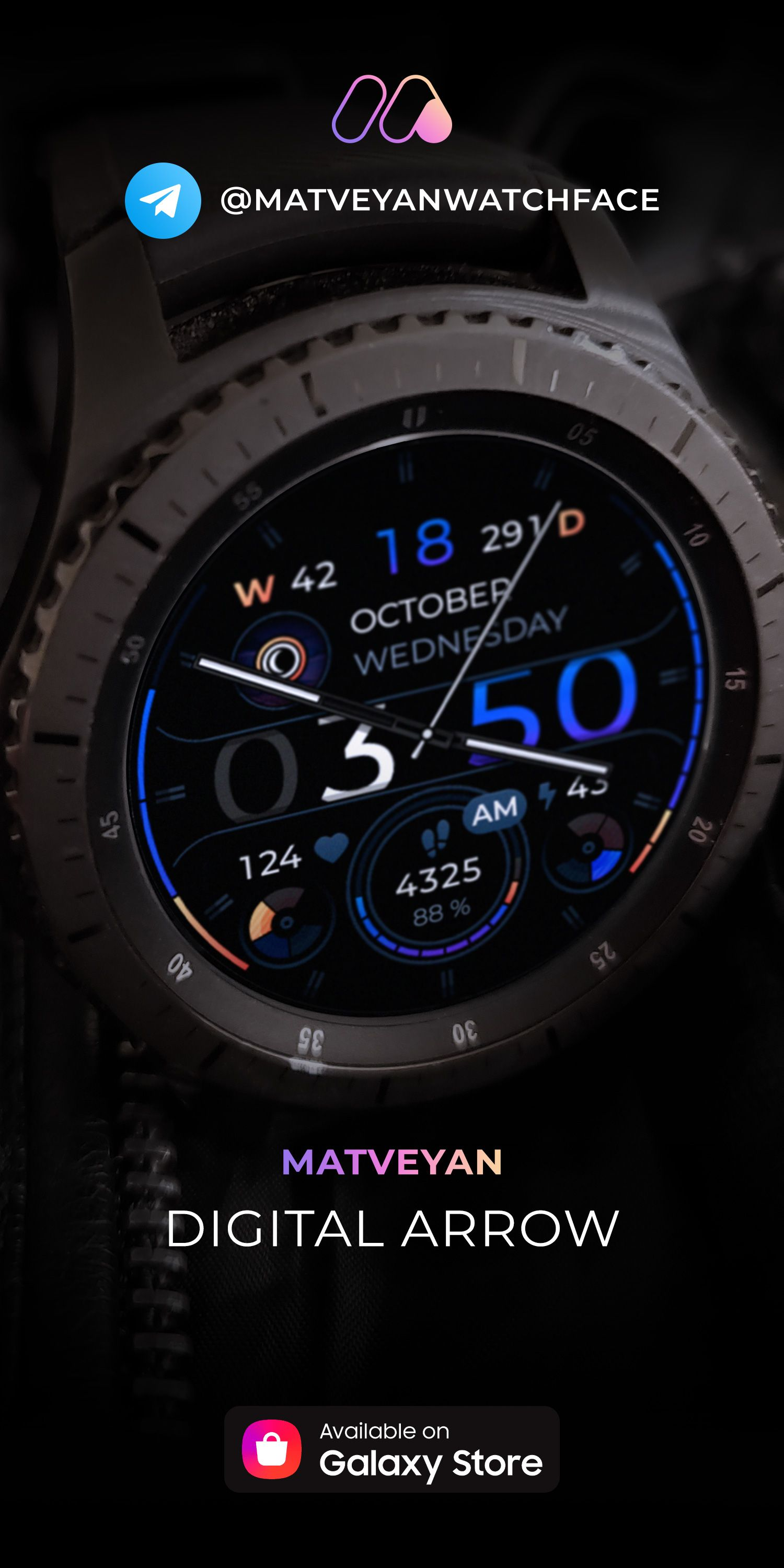 Matveyan Sport Steel Analog Watch Face For Samsung Watch In 2020 Samsung Watches Watch Faces Best Watches For Men