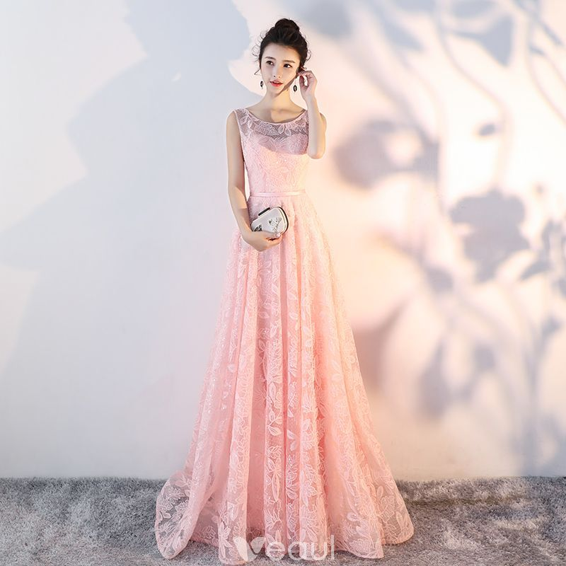 Bling Bling Pearl Pink See-through Lace Evening Dresses 2018 A-Line ...