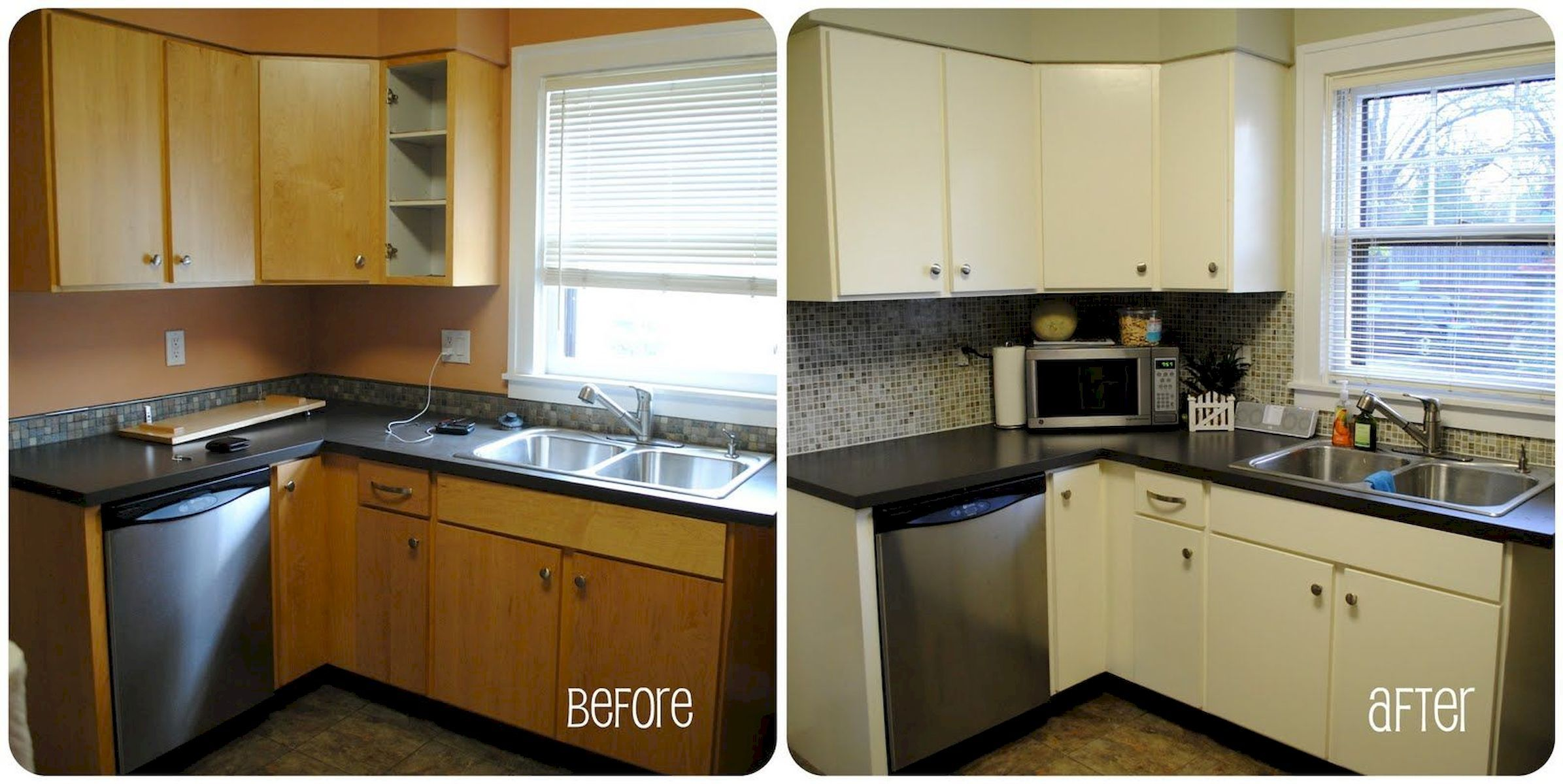 Before & After : Painted Kitchen Cabinet Idea
