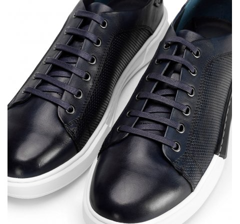 Meskie Sneakersy Skorzane Na Bialej Podeszwie 92 M 900 7165320 In 2021 Mens Leather Trainers Sneakers Men Navy Blue Sneakers