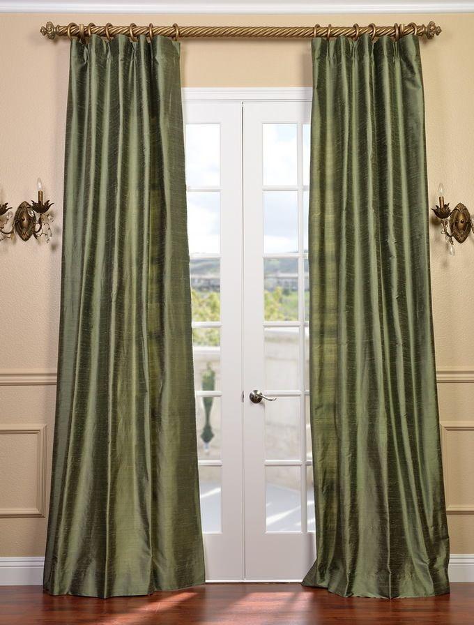Restful Green Textured Dupioni Silk Curtain Sku Dis Id37 At